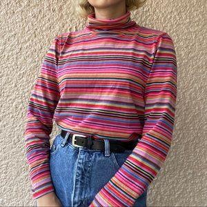 Pink Striped Mockneck